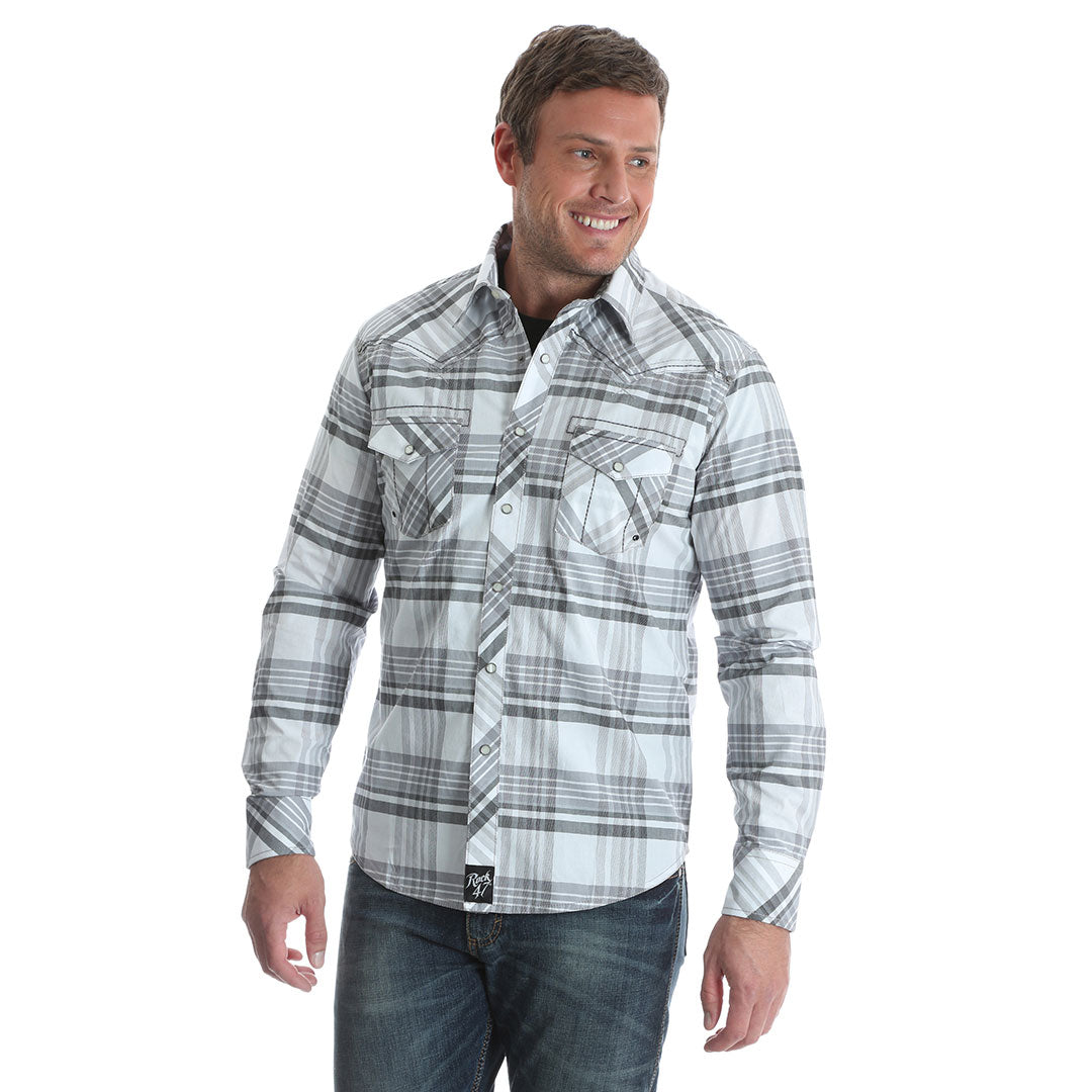Rock 47® By Wrangler® Grey & White Plaid Shirt