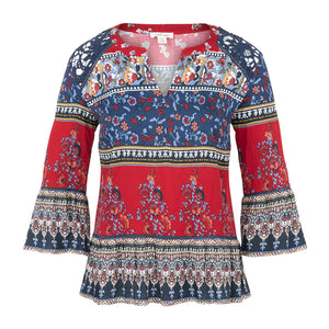 Tribal Multi Pattern Womens Blouse