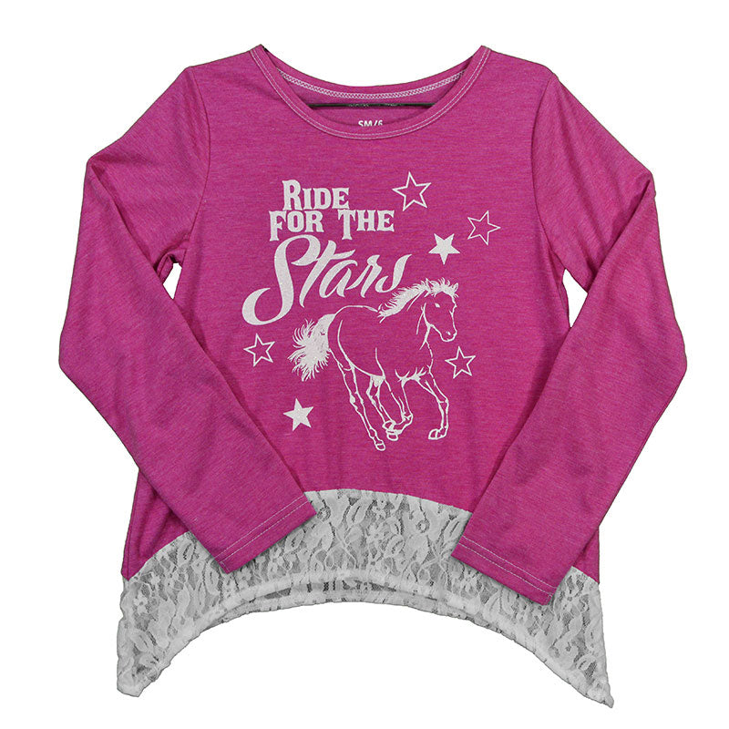 Cowgirl Hardware Ride For The Stars Heather Pink Girls Tee