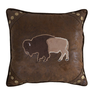 Wrangler Buffalo Faux Suede Throw Pillow