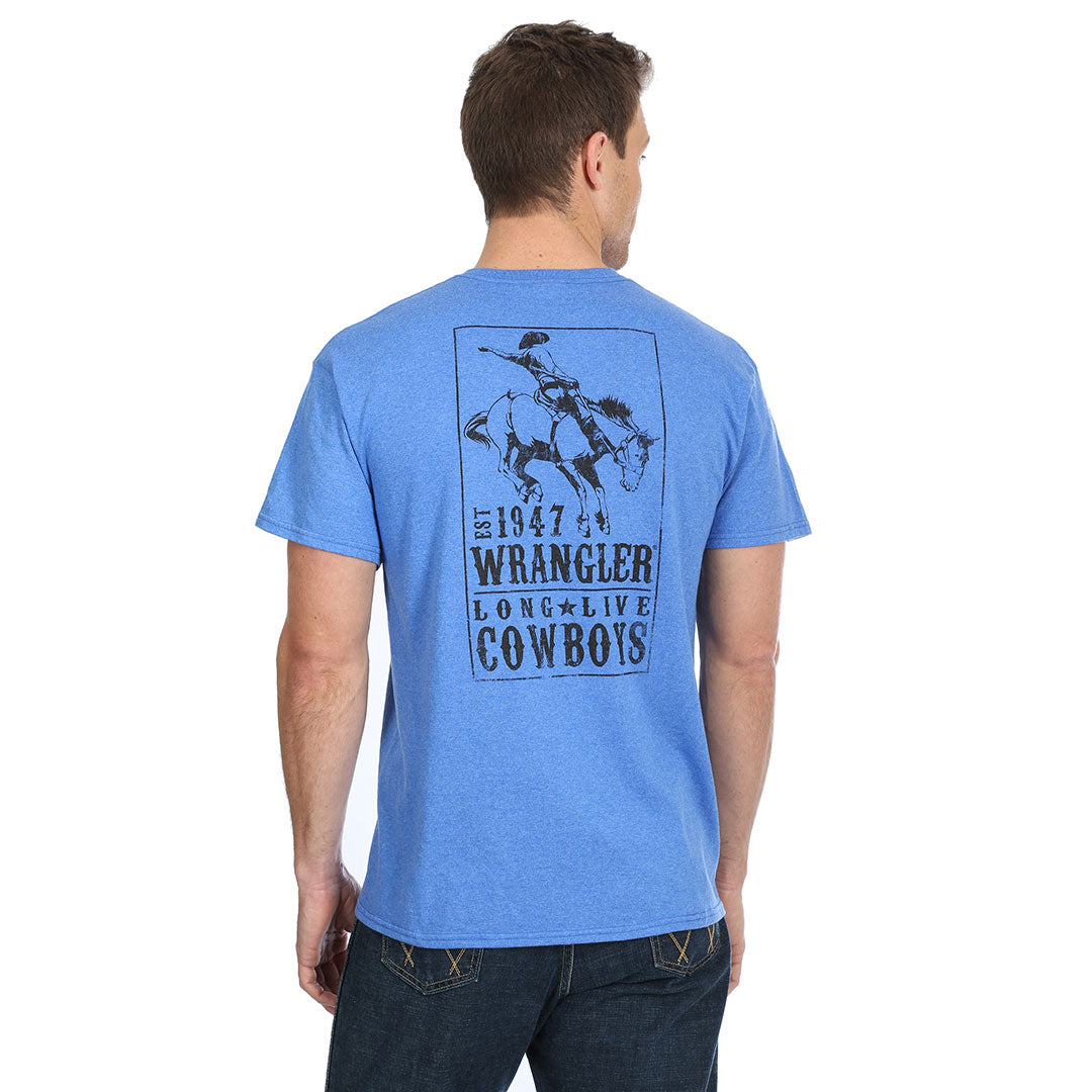 Wrangler Est. 1947 Cowboy Graphic Royal Heather Mens Tee