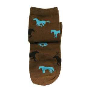 Austin Accent Turquoise & Black Horse Pattern Sock