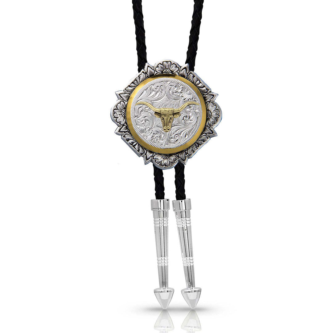 Montana Silversmiths Silver and Gold Engraved Button Bolo Tie