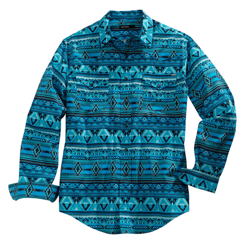 Tin Haul Blue Aztec Print Shirt