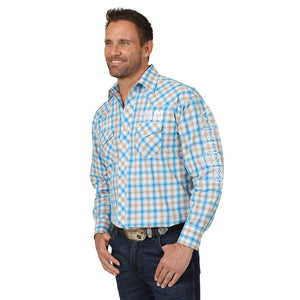 Wrangler Men's Ram Rodeo Logo Plaid Shirt