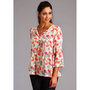 Stetson Watercolor Floral Peasant Blouse