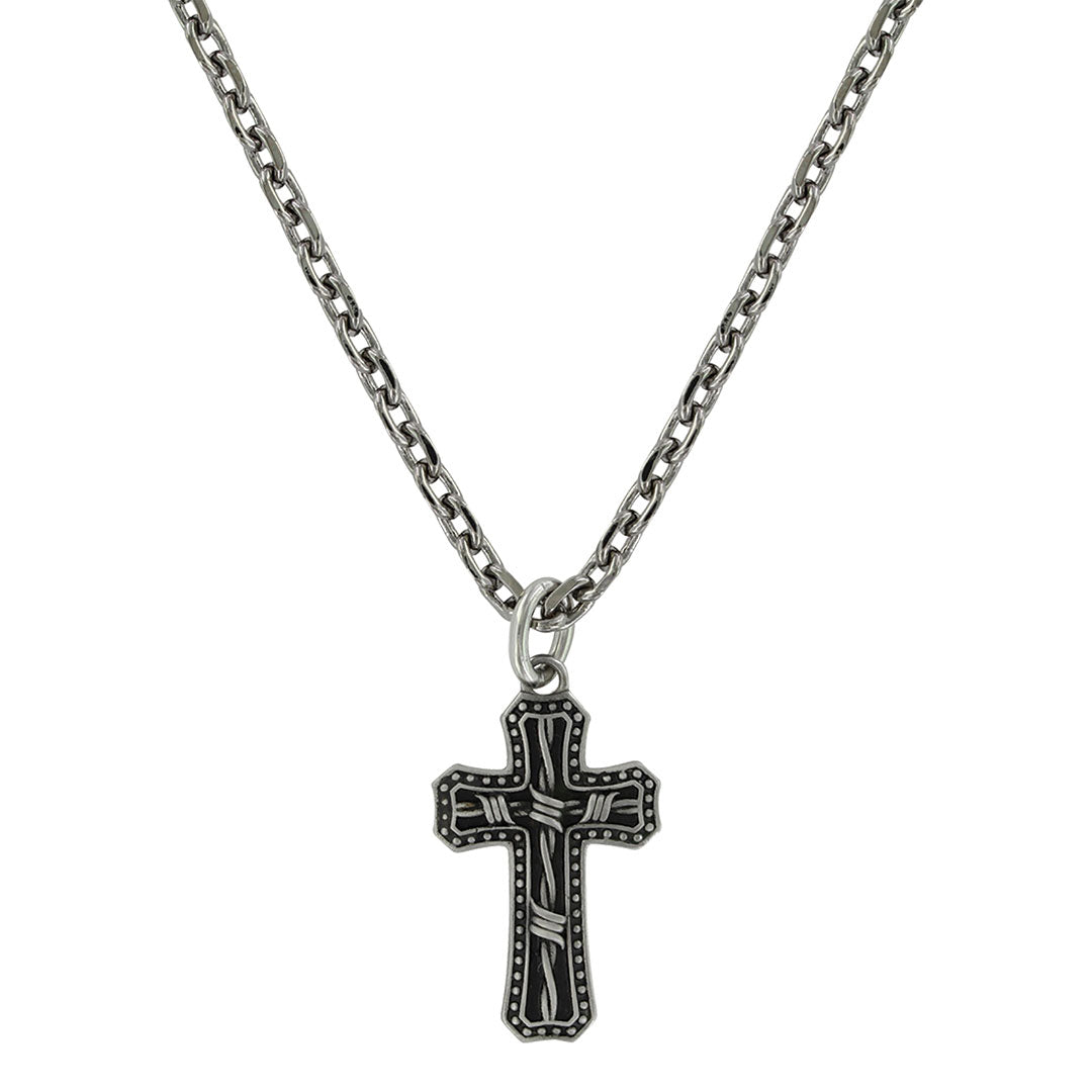 Montana Silversmiths Antiqued Stainless Barbed Wire Cross Necklace