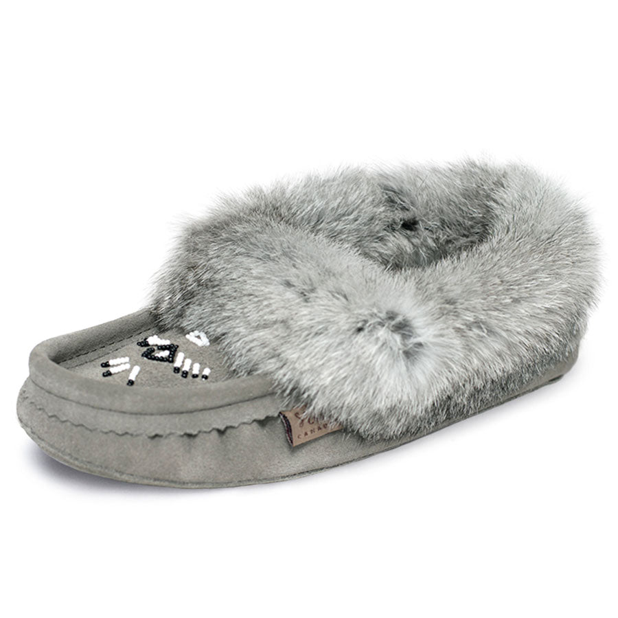 Laurentian Chief Grey Fur Women's Moccasin