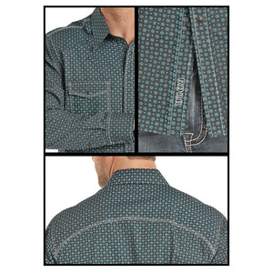 Rock & Roll Cowboy Teal Circle Print Shirt