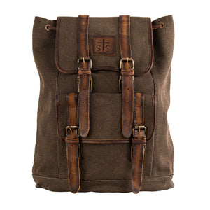 STS Ranchwear Dark Brown Canvas & Leather Backpack