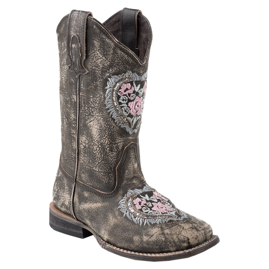 Roper Destiny Floral Heart Kids Cowgirl Boots