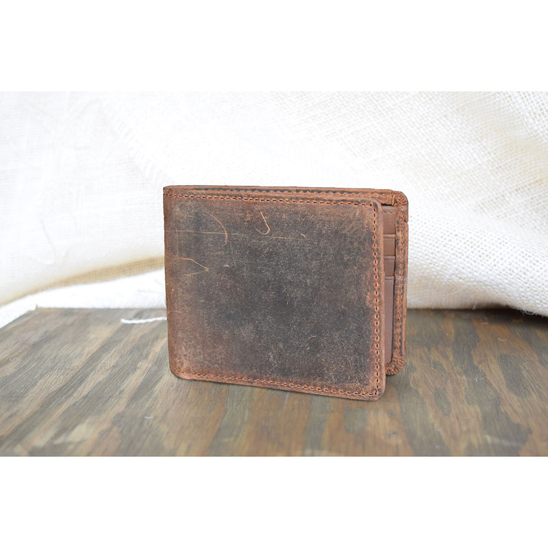 Lejon Large Bi-Fold Distressed Brown Wallet