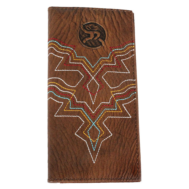 Roughy Multi-Color Stitch Brown Rodeo Wallet