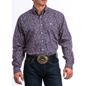 Cinch Navy & Burgundy Paisley Print Shirt