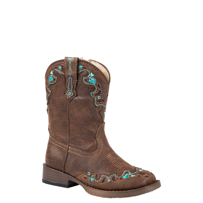 Roper Turquoise Hearts Toddler Brown Cowgirl Boots