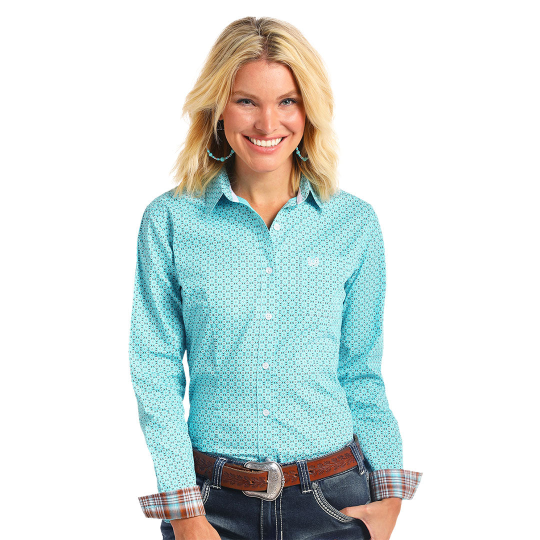 Rough Stock Turquoise Print Shirt