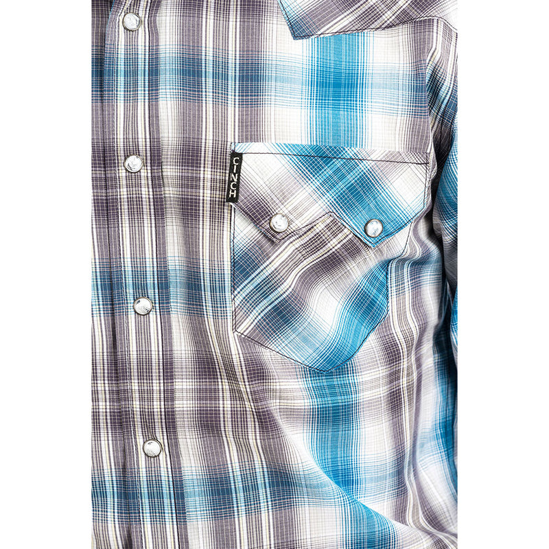 Cinch Blue, White & Brown Plaid Shirt
