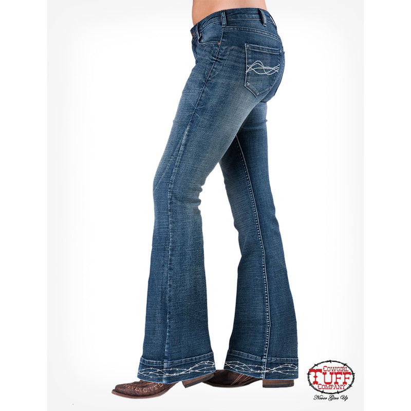 Cowgirl Tuff Hem Accent Trouser Jeans