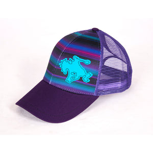 Cowgirl Tuff Bucking Bronc Purple Serape Womens Trucker Cap