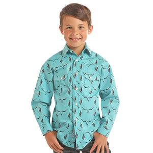 Rock & Roll Cowboy Steer & Cactus Print Shirt