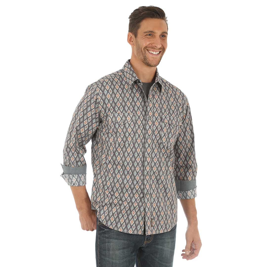 Wrangler® Retro® Grey Diamond Print Shirt