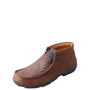 Twisted X Brown/Blue Checkered Mens Driving Moc