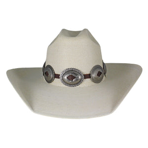 Austin Accent Brown & Silver Large Concho Hat Band
