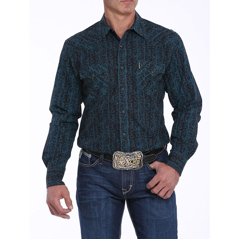 Cinch Blue & Black Floral Print Mens Shirt