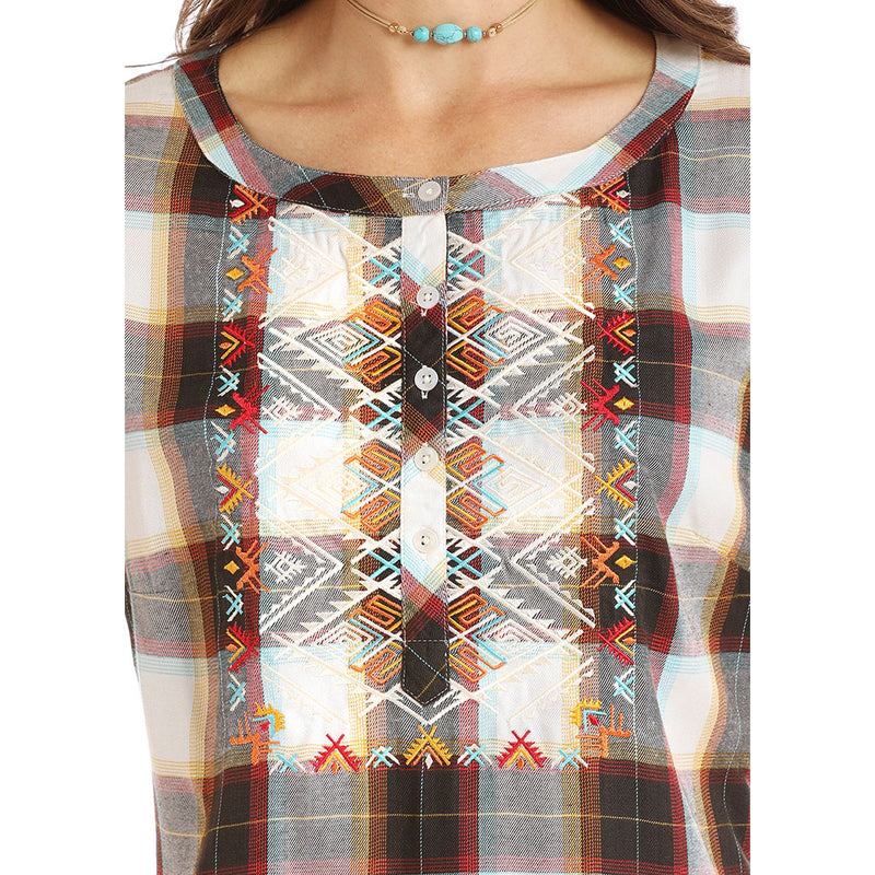 Panhandle Black & Red Plaid Top
