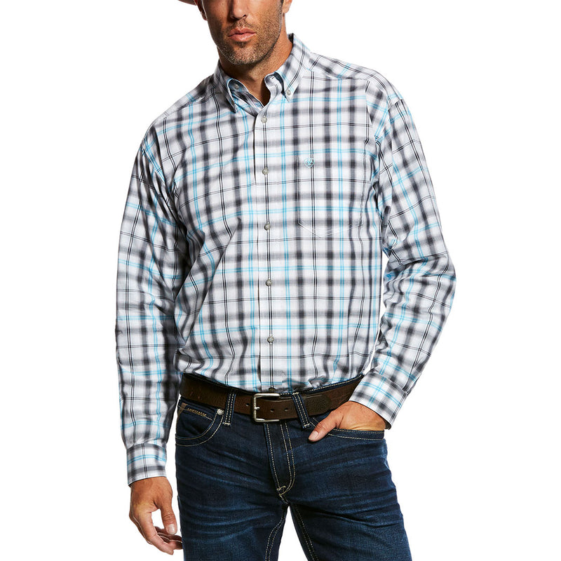 Ariat® Mickler White, Turquoise & Black Plaid Shirt