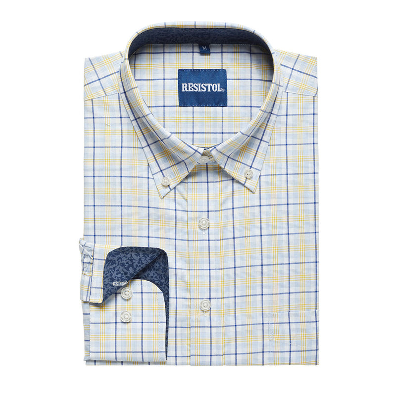 Resistol Blue, Yellow & White Plaid Shirt