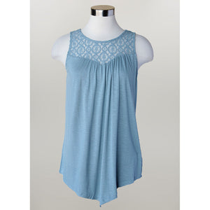 Keren Hart Crochet Yoke Sleeveless Top