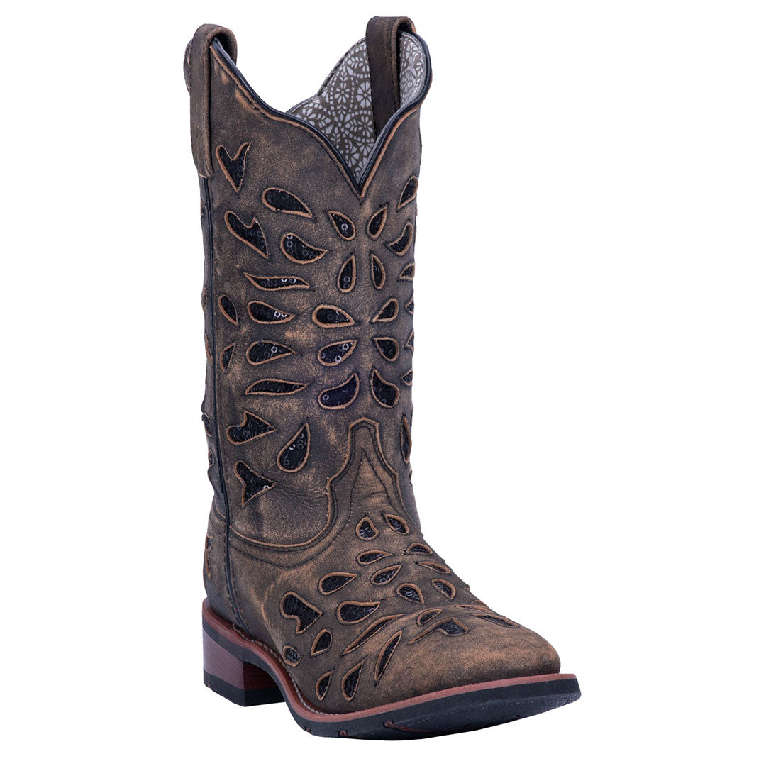 Laredo Black Ice Leather Cowgirl Boot