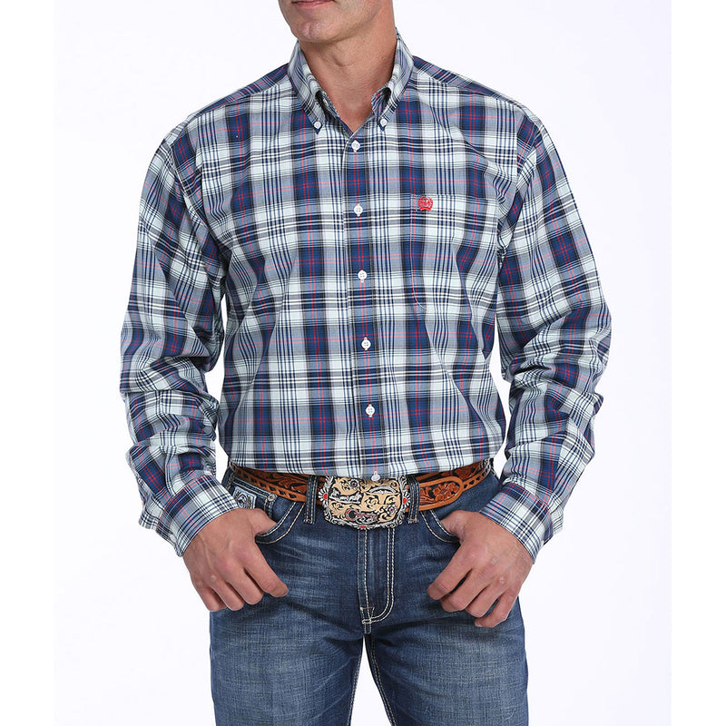 Cinch Navy & Green Plaid Mens Shirt