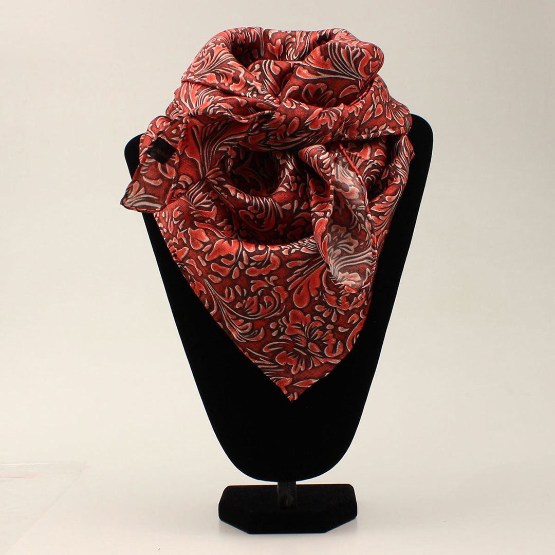 M&F Western Floral Red Silk Wild Rag