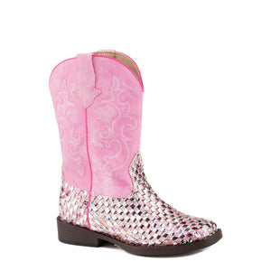 Roper Western Braid Pink Cowgirl Boot