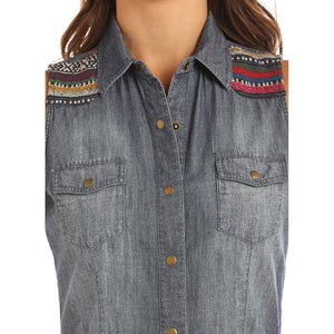 Rock & Roll Cowgirl Sleeveless Denim Shirt