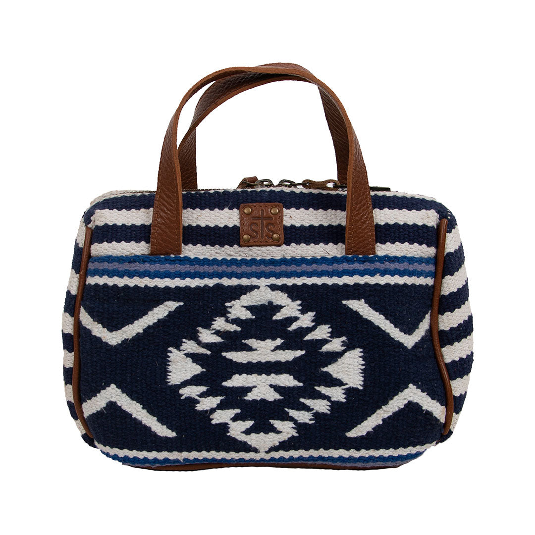 STS Ranchwear Durango Blue & White Serape Makeup Bag-Large