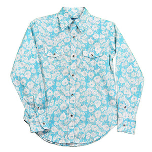 Cowgirl Hardware Floral Print Turquoise Girls Shirt