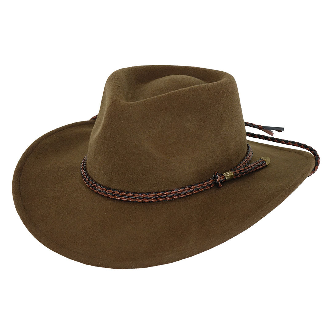 Outback Trading Co Broken Hill Brown Wool Cowboy Hat
