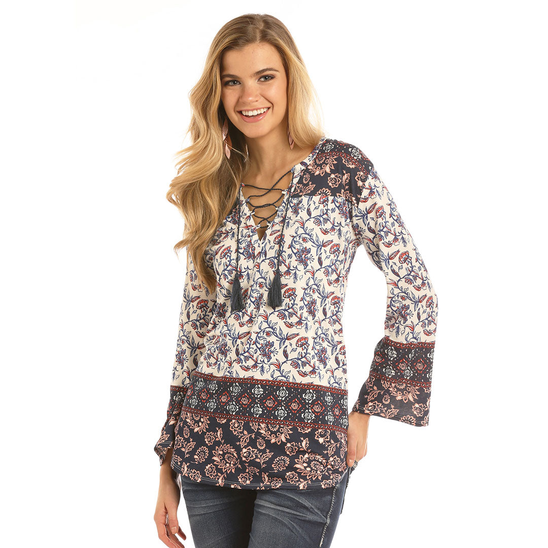 Rock & Roll Cowgirl Floral Print Top