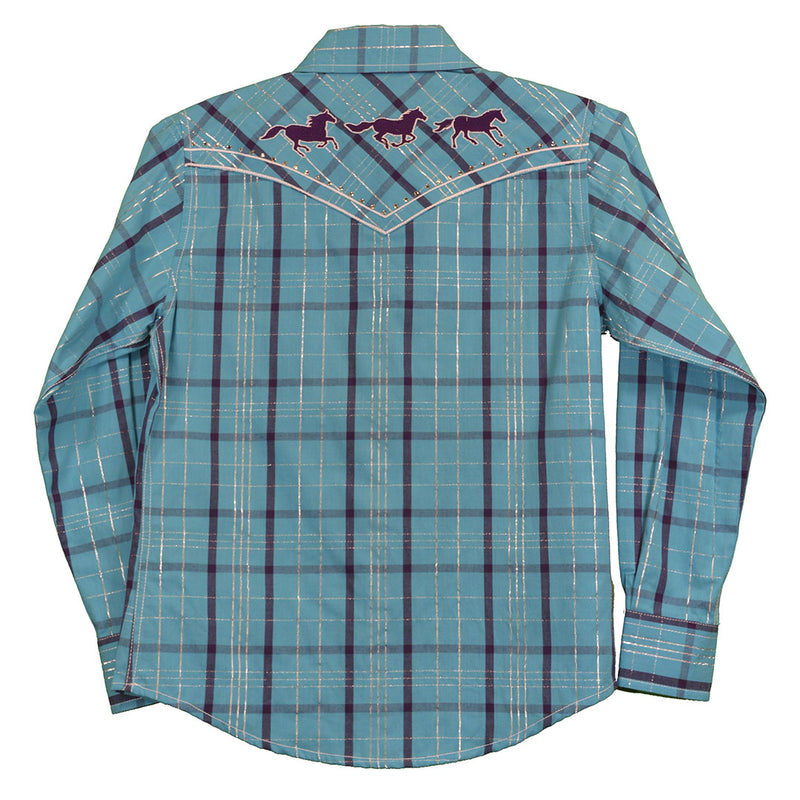 Cowgirl Hardware Blue Lurex Plaid Shirt
