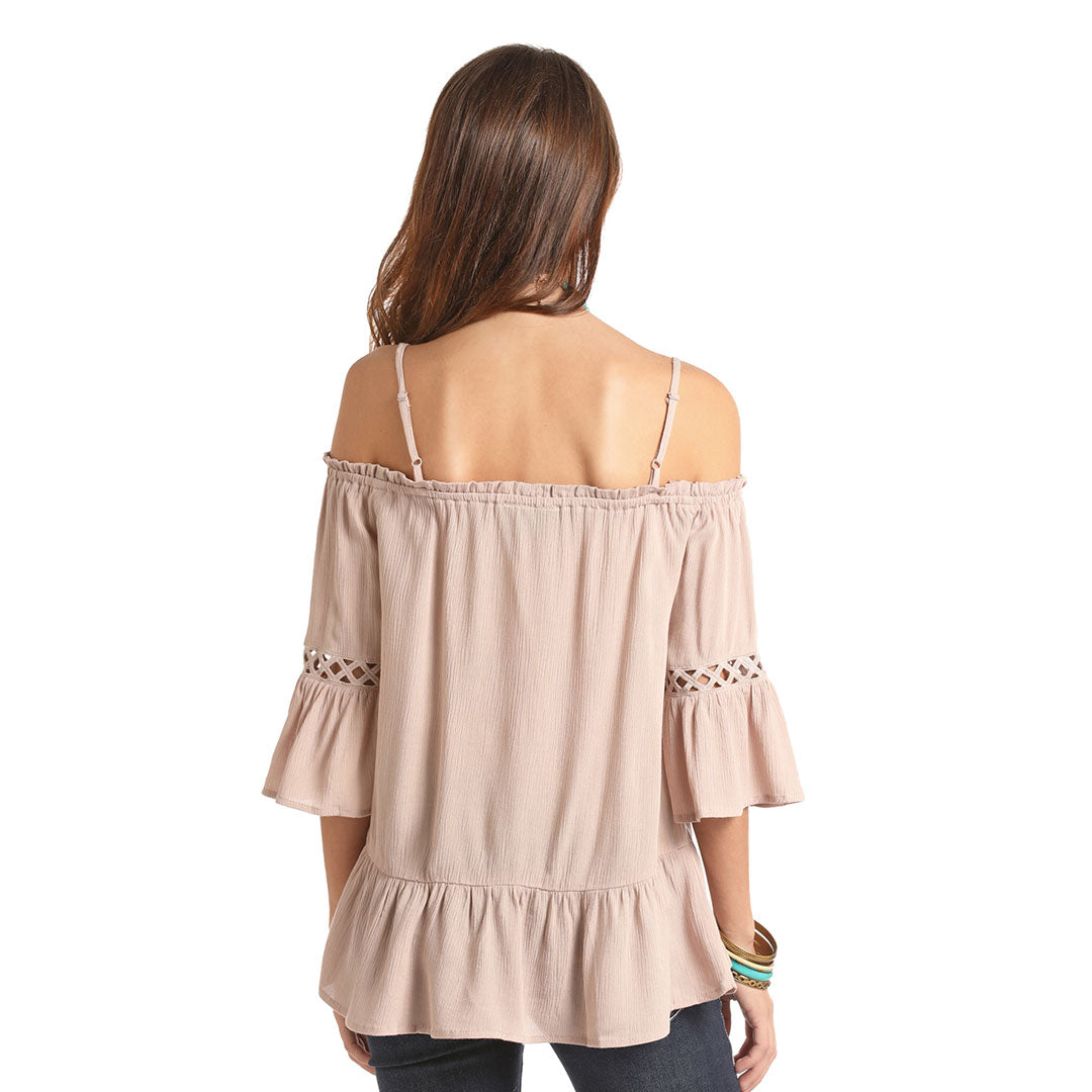 Rock & Roll Cowgirl Tan Peasant Blouse