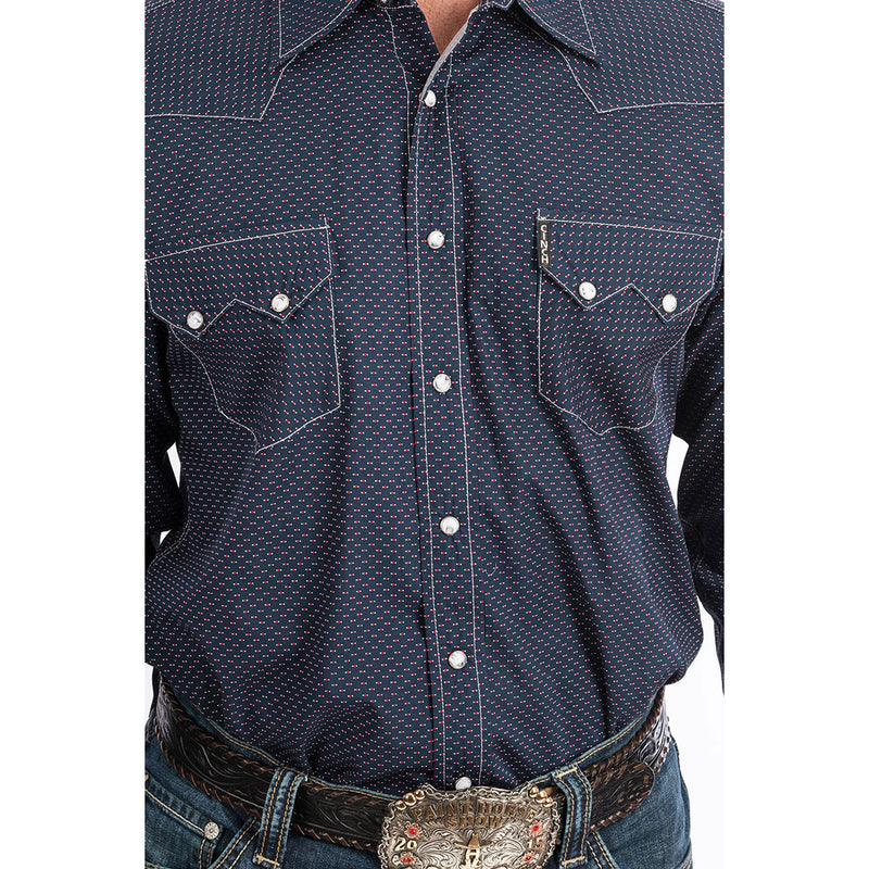 Cinch Navy Geometric Print Shirt