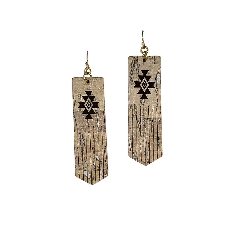 Cindy Smith Leather & Hand Painted Aztec Pattern Earrings