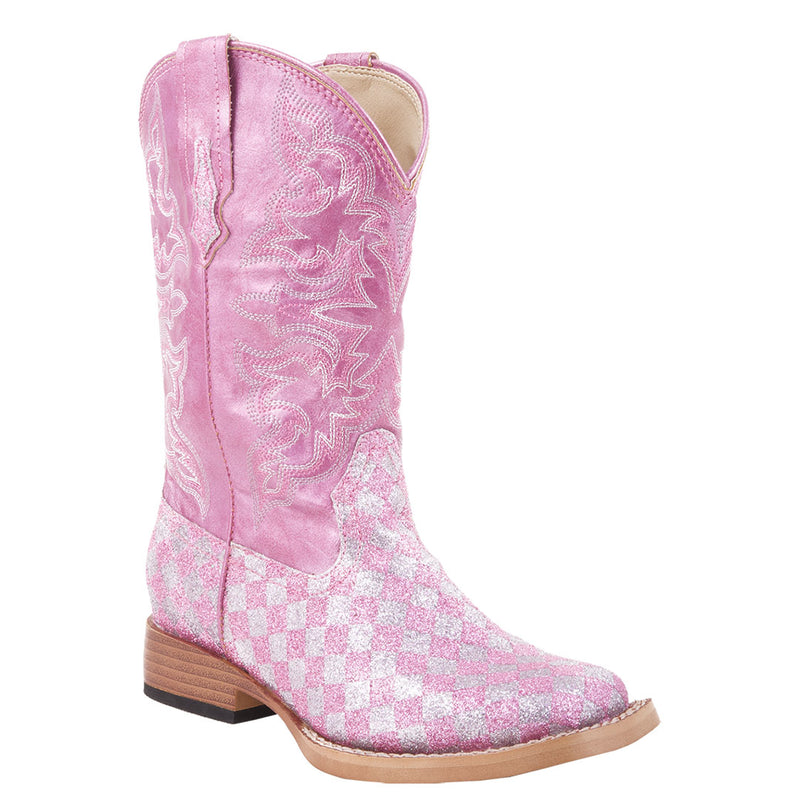 Roper Girl's Checkered Square Toe Cowgirl Boots