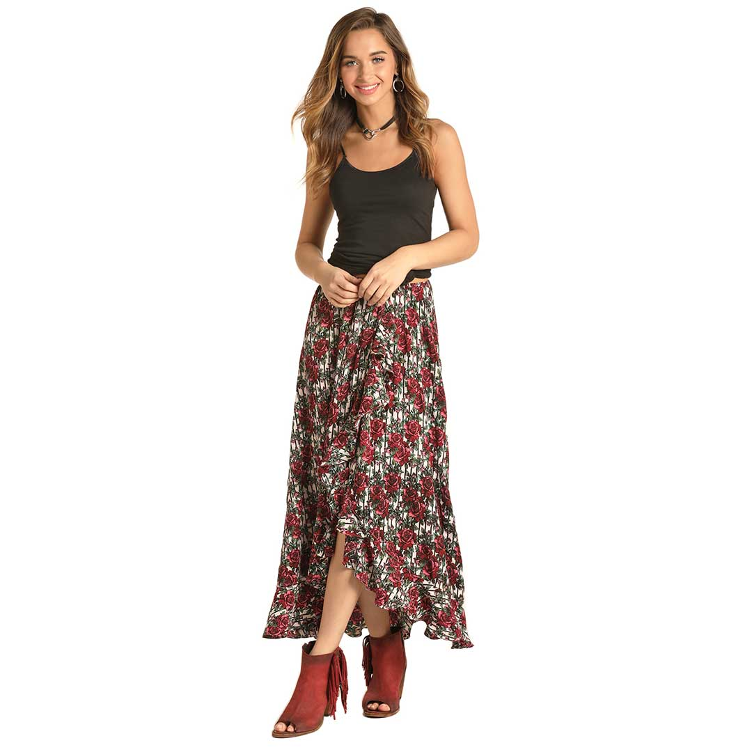 Rock & Roll Cowgirl Women's Floral Hi Lo Skirt