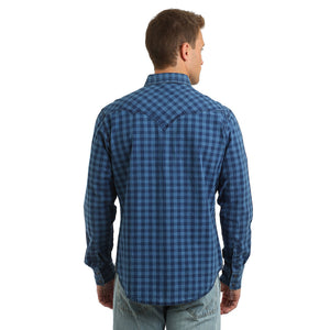 Wrangler® Retro® Premium Indigo Blue Checkered Men's Shirt