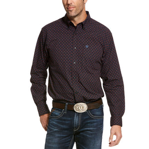 Ariat Usen Classic Black & Purple Print Mens Shirt