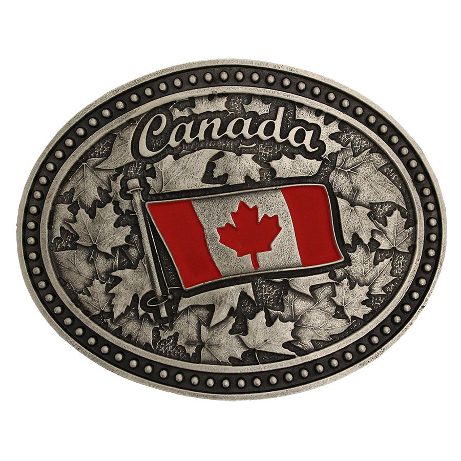 Montana Silversmiths Canada Flag Belt Buckle